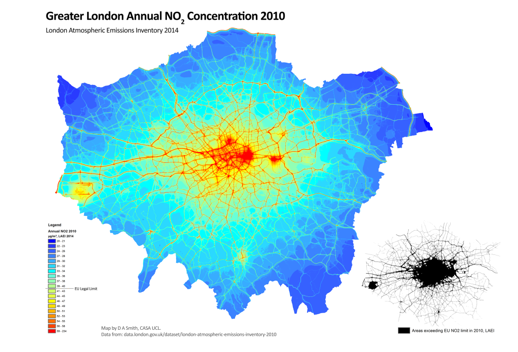 NO2 Annual concentration in London 2010, modelled by the London Atmospheric Emissions Inventory. All of Inner London and many major roads in Outer London greatly exceed the EU limit.
